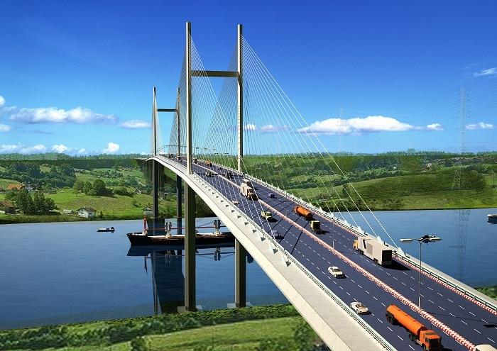 Hình ảnh cầu Cát Lái nối liền TP HCM và Đồng Nai khi được Hoàn Thành.