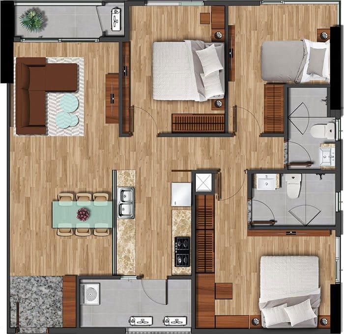 Mặt bằng căn hộ Akari diện tích 100.11m2.