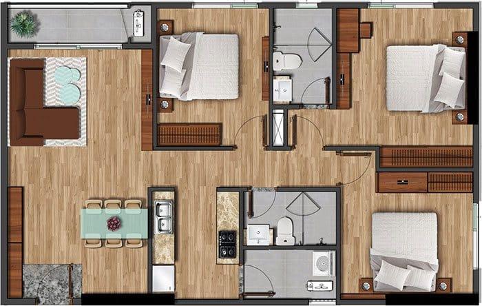 Mặt bằng căn hộ Akari diện tích 101.98m2.