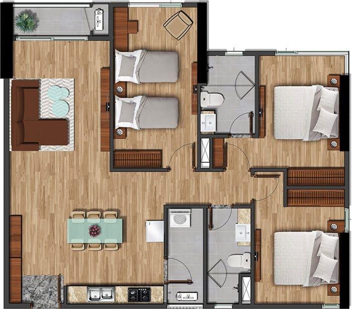 Mặt bằng căn hộ Akari diện tích 104.16m2.