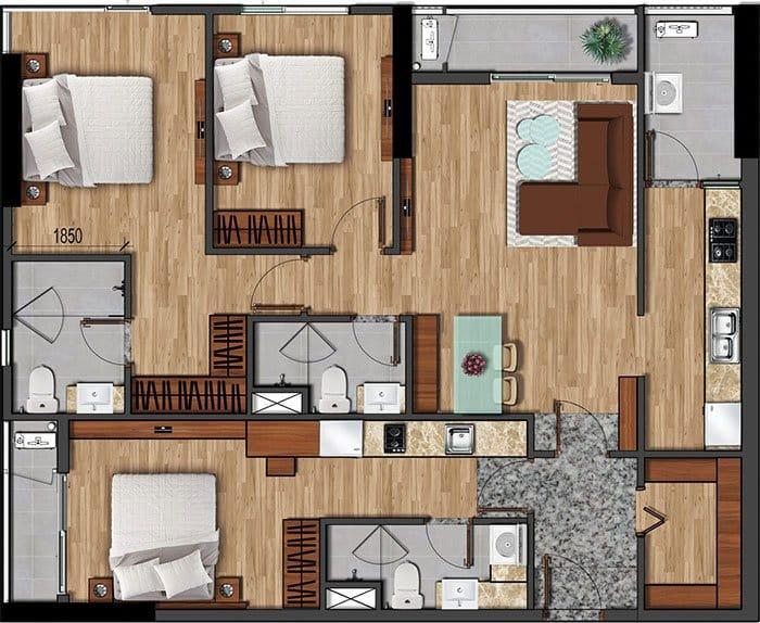 Mặt bằng căn hộ Akari diện tích 121.21m2.
