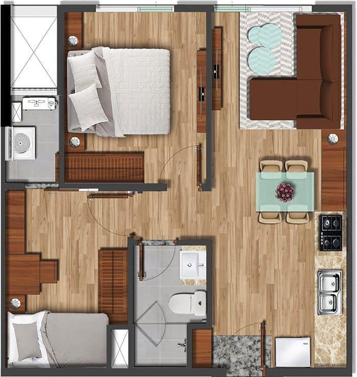 Mặt bằng căn hộ Akari diện tích 50.61m2.