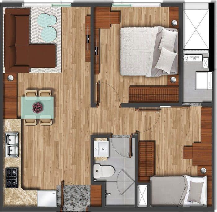 Mặt bằng căn hộ Akari diện tích 56m2.