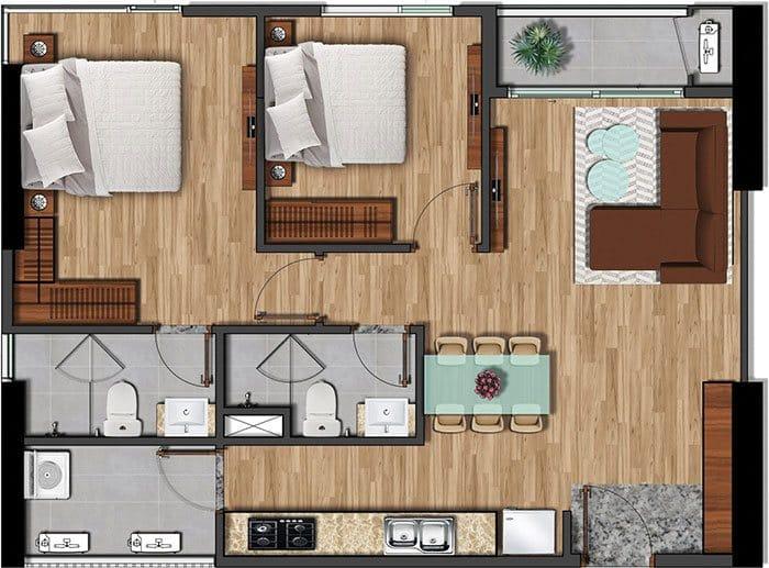 Mặt bằng căn hộ Akari diện tích 75.05m2.