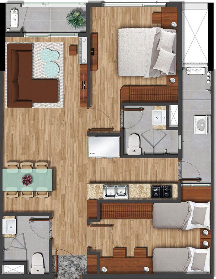 Mặt bằng căn hộ Akari diện tích 75.13m2.