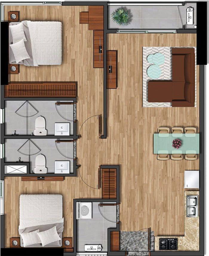 Mặt bằng căn hộ Akari diện tích 79.17m2.