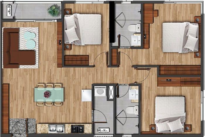 Mặt bằng căn hộ Akari diện tích 97.28m2.