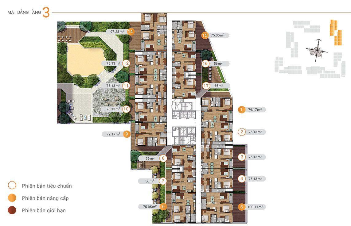 Mặt bằng tầng 4 đến tầng 21, tòa Akari 04.
