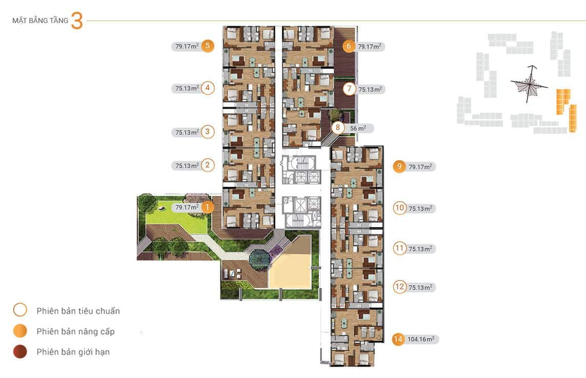 Mặt bằng tầng 4 đến tầng 21, tòa Akari 05.