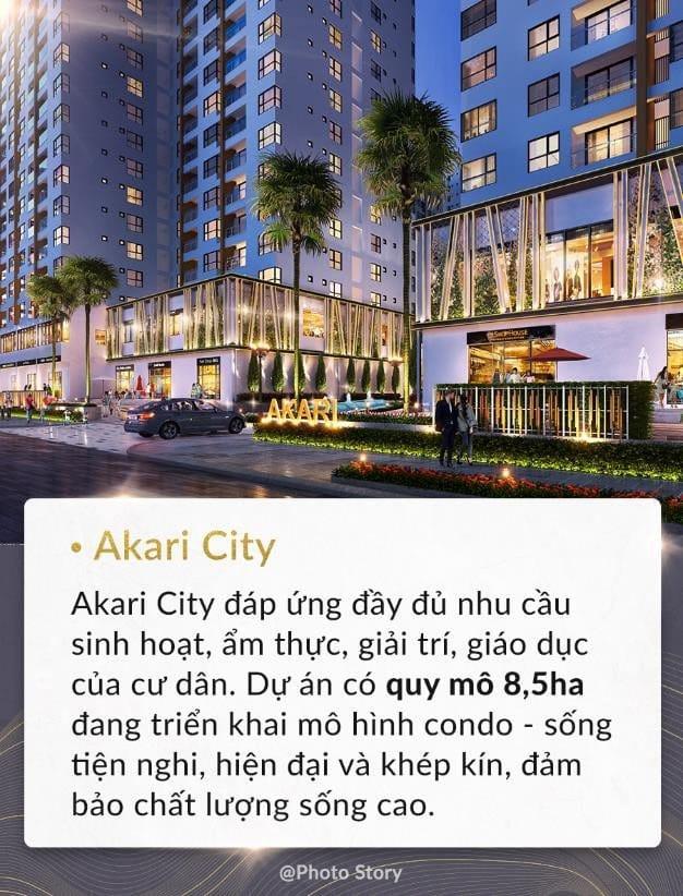 Khu đô thị Akari City nằm trên trục đường Võ Văn Kiệt với hơn 4600 căn hộ.