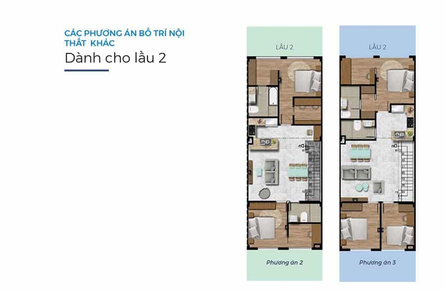Mặt bằng tầng cho lầu 2. Ở lầu 2 sẽ có nhiều mẫu hơn cho cư dân lựa chọn.