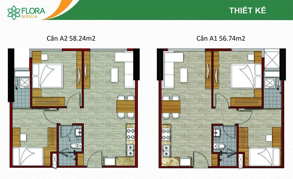 Mẫu căn hộ A1 và A2 của Flora Novia.