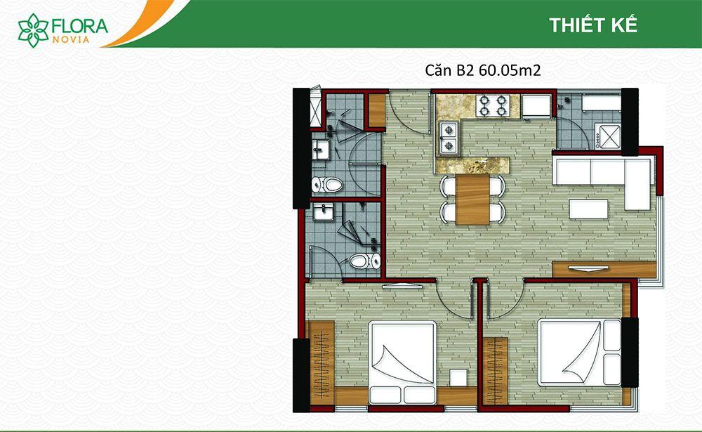 Mẫu căn hộ B3 của Flora Novia.