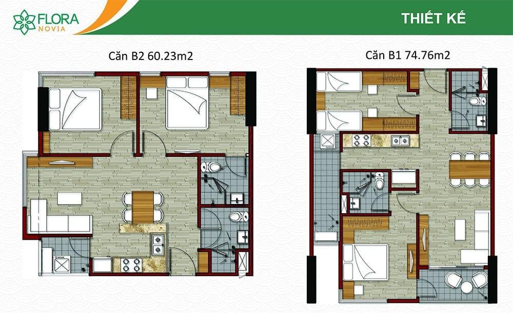 Mẫu căn hộ B1 và B2 của Flora Novia.
