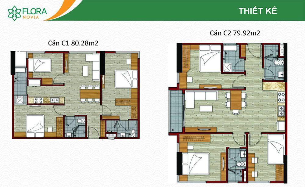 Mẫu căn hộ C1 và C2 của Flora Novia.