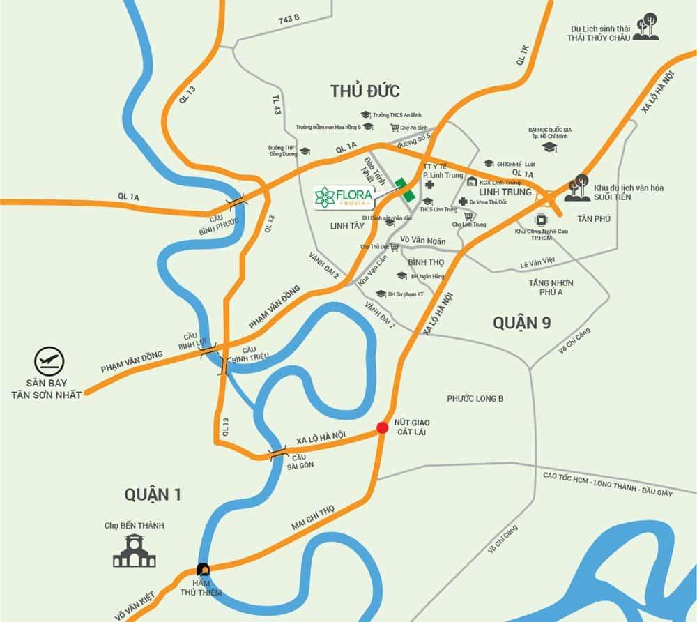 Vị trí căn hộ Flora Novia nằm ngay nút giao nhau giữa Phạm Văn Đồng và Đào Trinh Nhất.