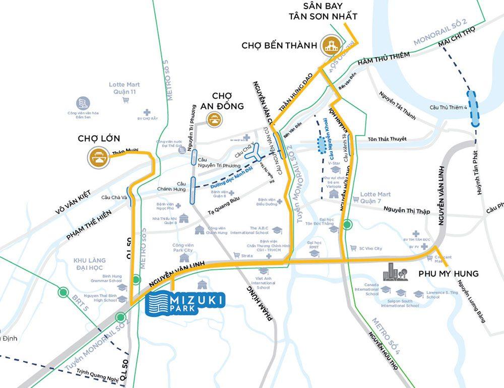 Vị trí khu đô thị Mizuki Park tại Bình Hưng, Bình Chánh của Nam Long Group.