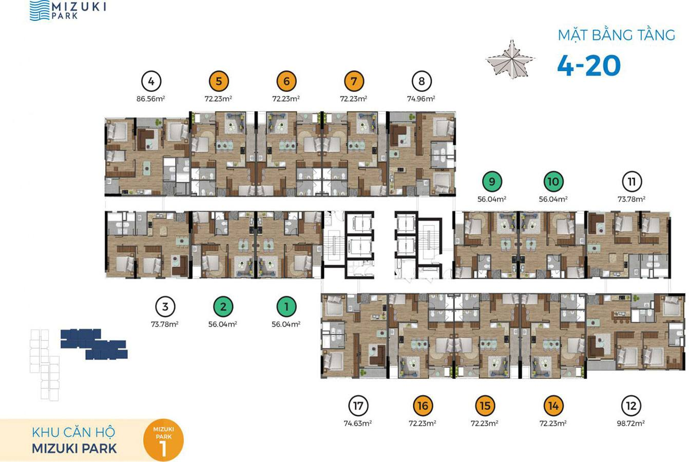 Mặt bằng block Mizuki Park 1 tầng 4 đến tầng 20.