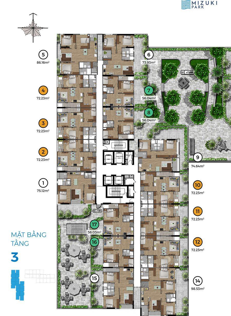 Mặt bằng block Mizuki Park 2 tầng 3.