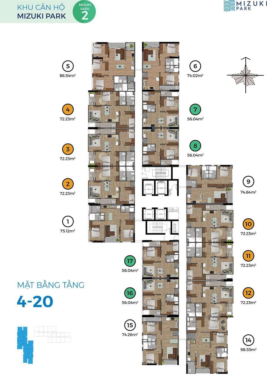 Mặt bằng block Mizuki Park 2 tầng 4 đến tầng 20.
