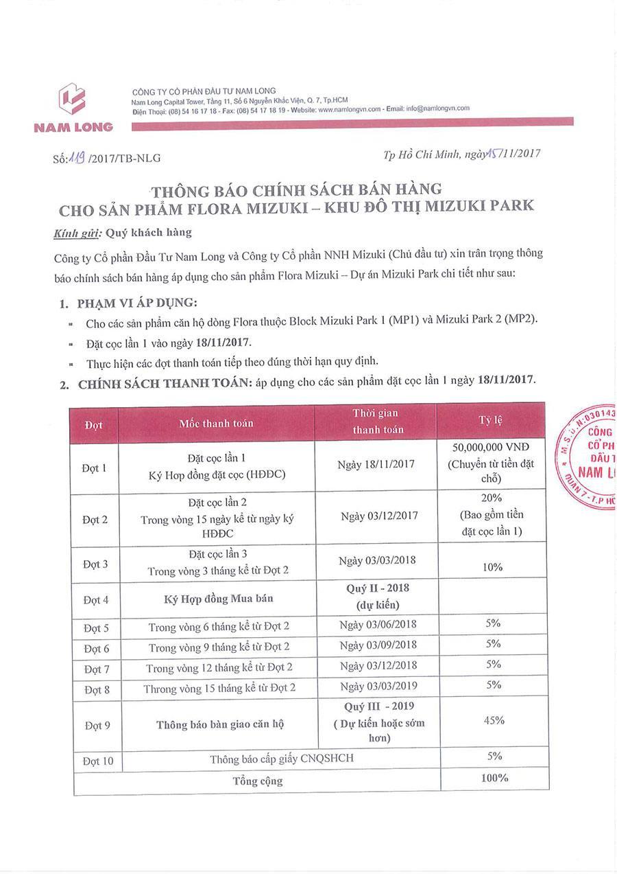 Tiến độ thanh toán và chính sách bán hàng của 2 block Mizuki Park 1, Park 2.