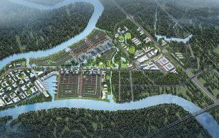 Toàn cảnh dự án Waterpoint được bao quanh 3 mặt bởi sông Vàm Cỏ Đông, mặt còn lại là Tỉnh lộ 830 vừa được nâng cấp mở rộng