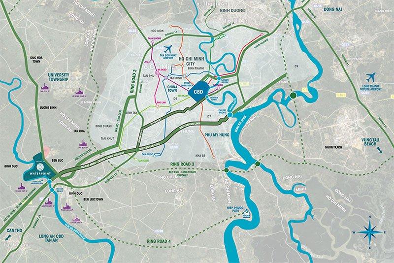 Vị trí khu đô thị Waterpoint kết nối nhanh chóng đến các khu vực lân cạnh quanh thành phố HCM.