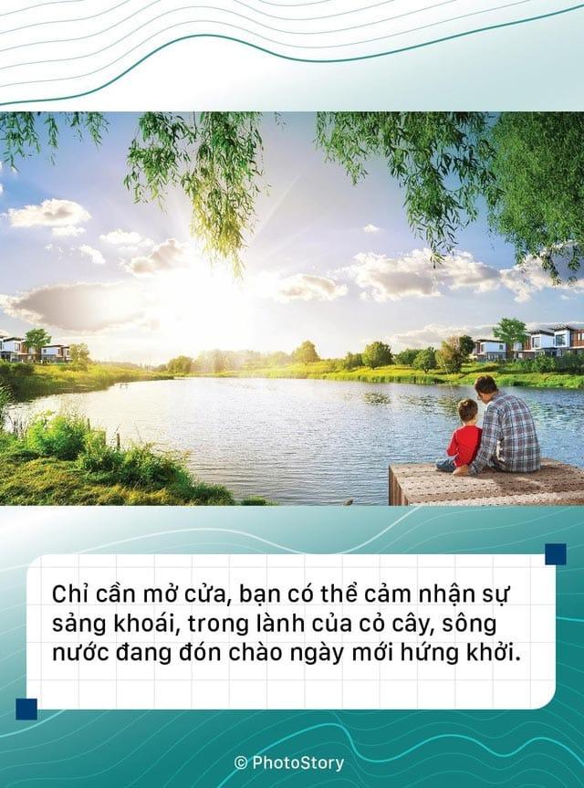 """""""Thành phố bên sông"""" trong lành của cỏ cây, sông nước đang đón chào ngày mới hưng khởi."""