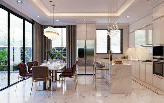 Khu vực bếp và phòng ăn biệt thự đơn lập.