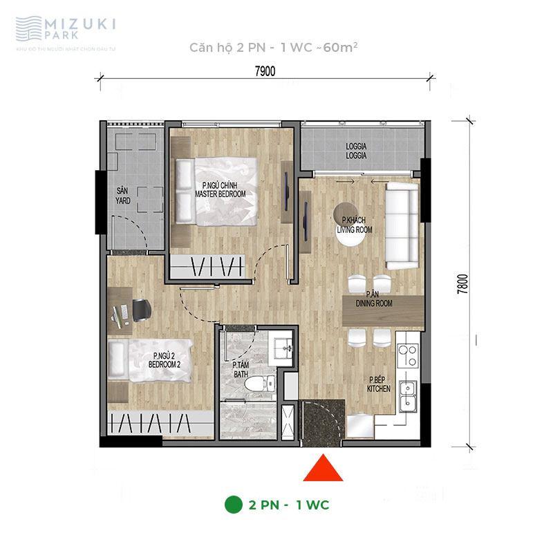 Mặt bằng thiết kế căn hộ 2 phòng ngủ, 1wc, 60m2 tòa MP9 MP10.