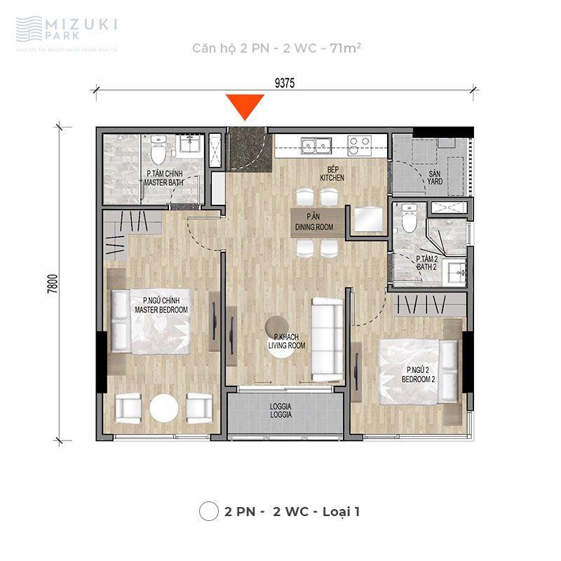 Mặt bằng thiết kế căn hộ 2 phòng ngủ, 2wc, 71m2 tòa MP9 MP10.