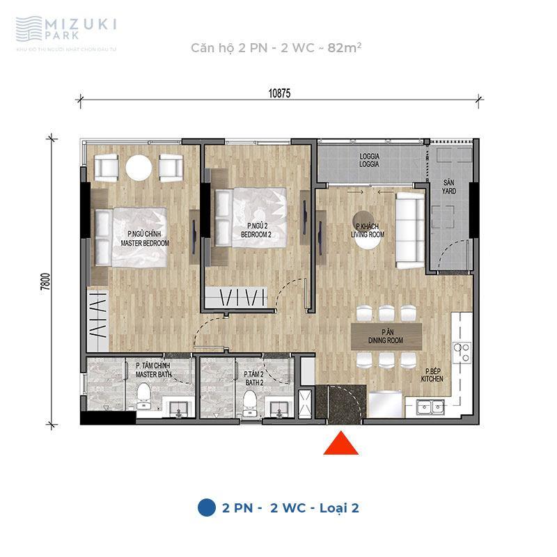 Mặt bằng thiết kế căn hộ 2 phòng ngủ, 2wc, 82m2 tòa MP9 MP10.