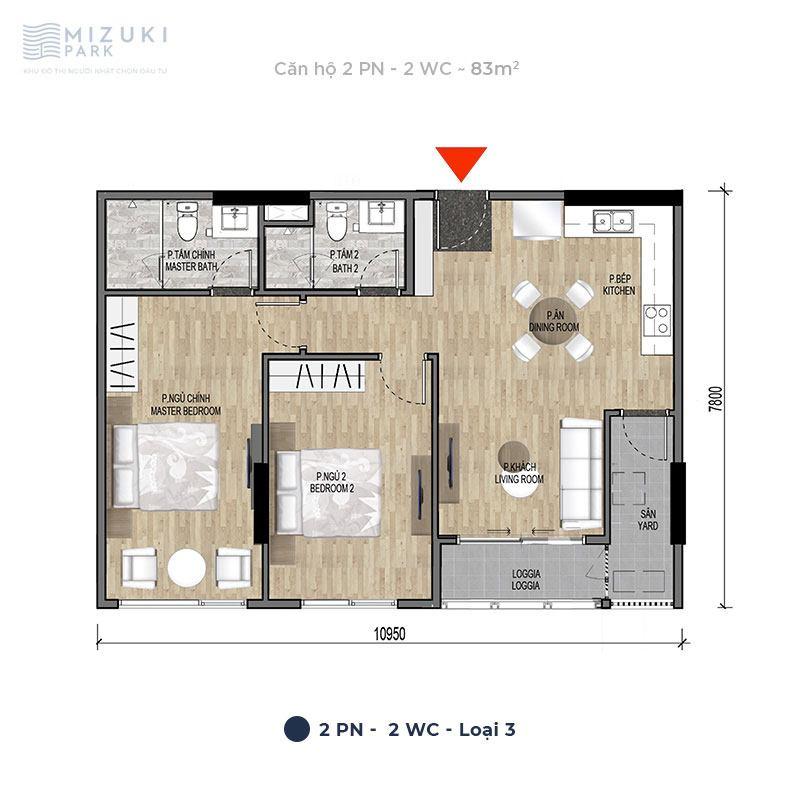 Mặt bằng thiết kế căn hộ 2 phòng ngủ, 2wc, 83m2 tòa MP9 MP10.