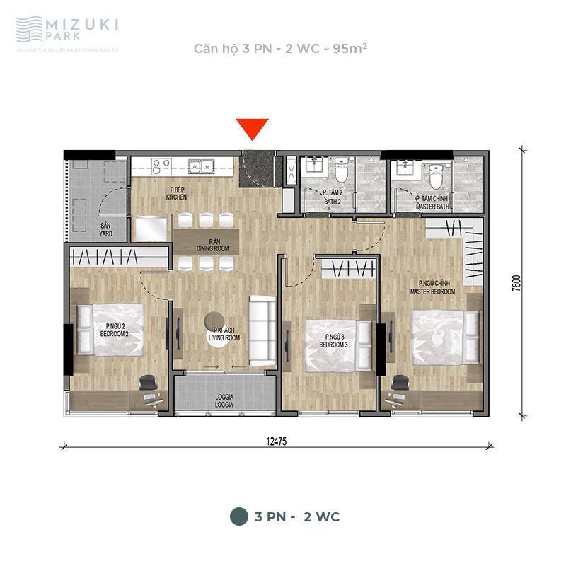Mặt bằng thiết kế căn hộ 3 phòng ngủ, 2wc, 95m2 tòa MP9 MP10.