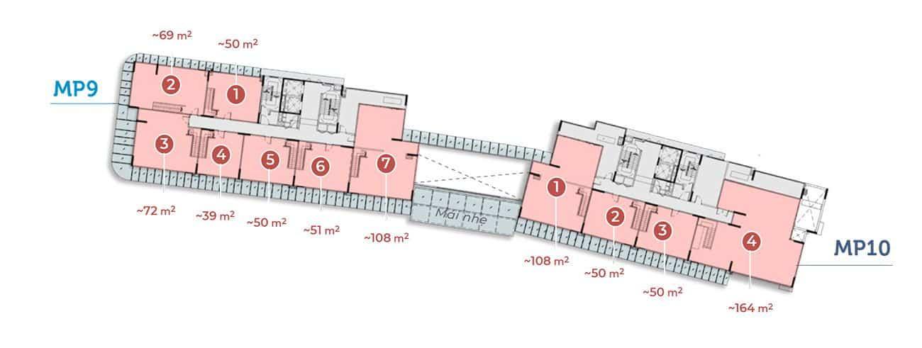 Mặt tầng 2 tòa MP9 MP10.