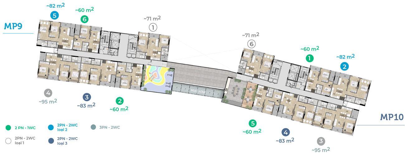 Mặt tầng 3 tòa MP9 MP10.
