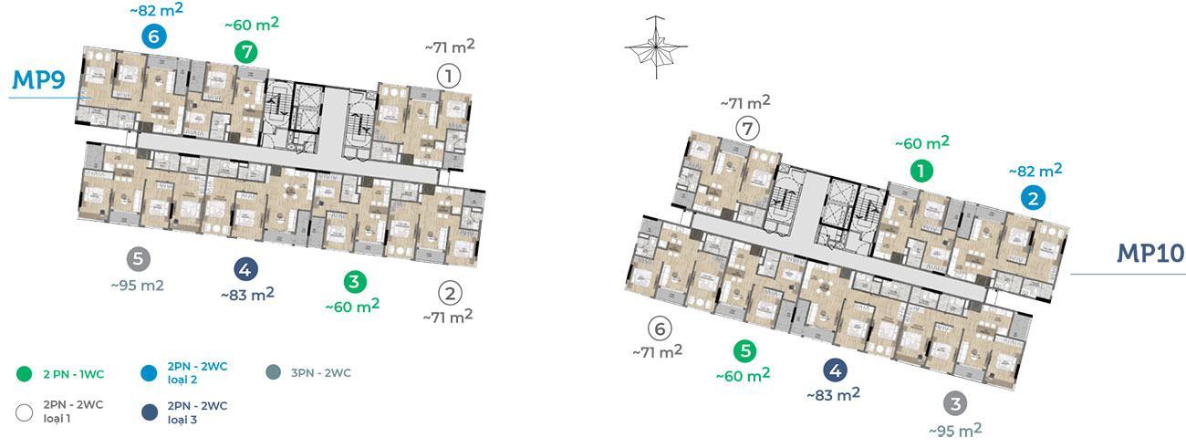 Mặt tầng 4 đến tầng 14 tòa MP9 MP10.