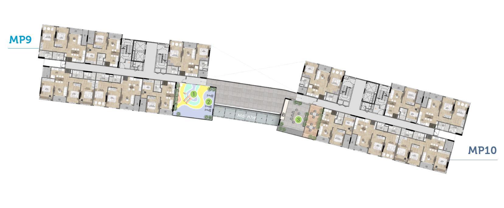 Mặt bằng tiện ích tầng 3 tòa MP9 MP10 - Mizuki Park.